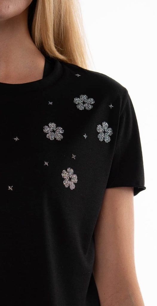Ultracor Swarovski Starflower Crop Tee Nero Chrome