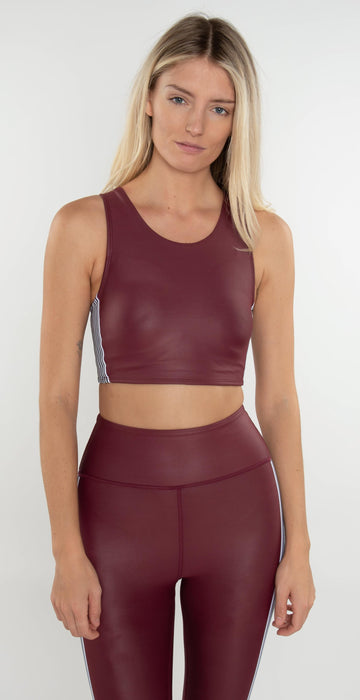 All Fenix Paris Stripe Sports Bra Burgundy