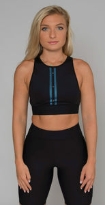Ultracor Altitude Twill Stripe Swarovski Crop Top Nero Blue Metallic Light