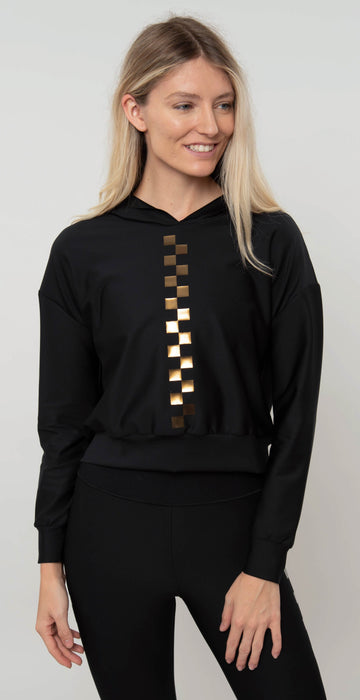 Ultracor Checkmate Crop Hoodie Nero IR Gold