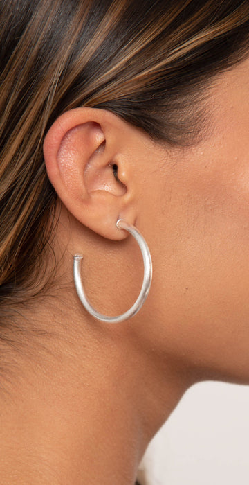 Sheila Fajl Petite Everybody's Favorite Hoops Brushed Silver Plated