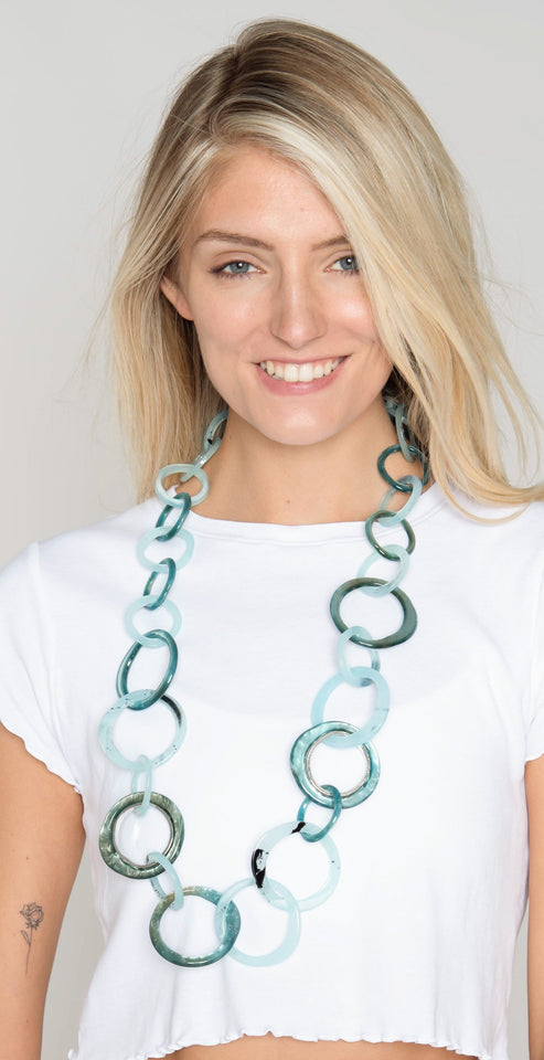 Rush by Denis & Charles Tami Round Link Necklace Blue