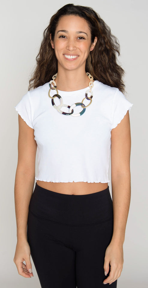 Rush by Denis & Charles Savannah Short Resin Link Necklace Black and White