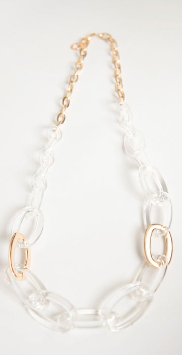 Rush by Denis and Charles Tula Link Necklace Lucite Gold