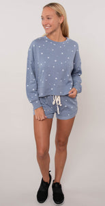 Alternative Cozy Terry Shorts Heather Blue Dreamy Stars