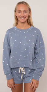 Alternative Drop Shoulder Cropped Pullover Heather Blue Dreamy Stars