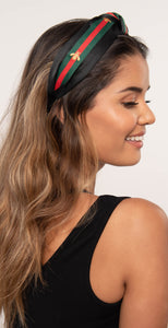 Dainty Ivy Bee & Stripe Headband Black