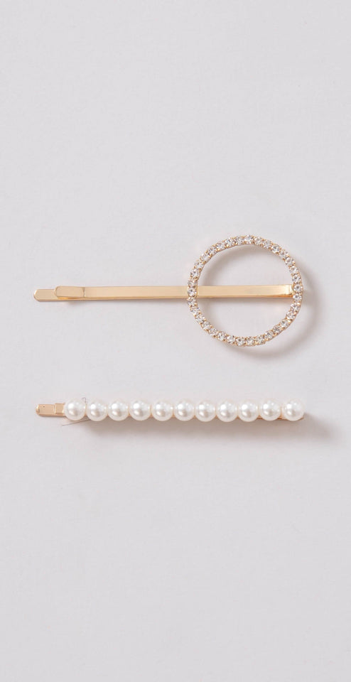 Dainty Ivy Pave & Pearl Hair Pin Set Gold