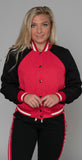 Twenty Montréal Kent Crepe Varsity Jacket Poppy Red Jet Black