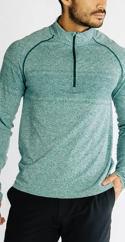 Rhone Seamless Quarter Zip Rain Forest Heather
