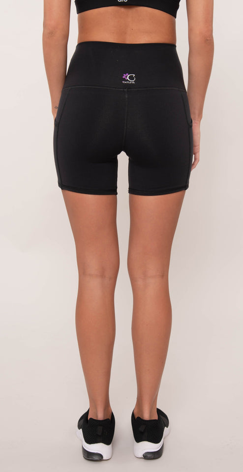 Catleya High Waist Double Pocket Shorts Black