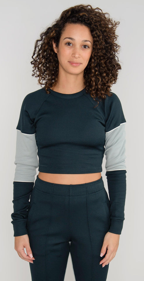 Twenty Montr̩al Olympic Mesh Crew Neck Top Steel Green Cement
