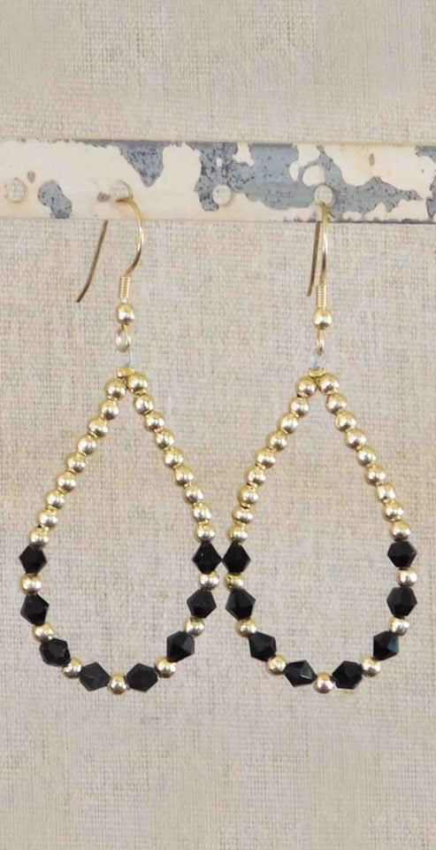 Tickled Pink Crystal and Gold Bead Earrings Black