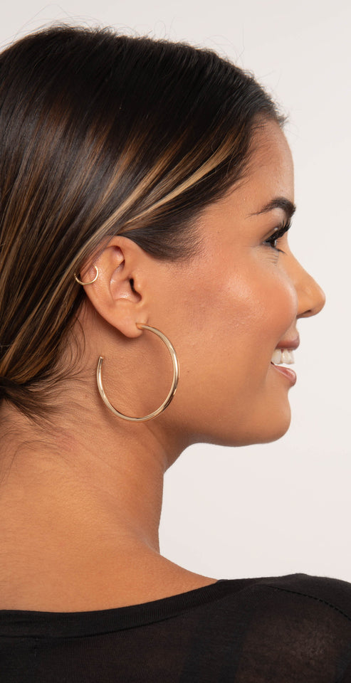 Dainty Ivy 50mm Open Hoops Glossy Gold
