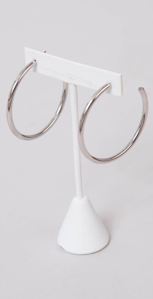 Dainty Ivy 50mm Open Hoops Glossy Silver