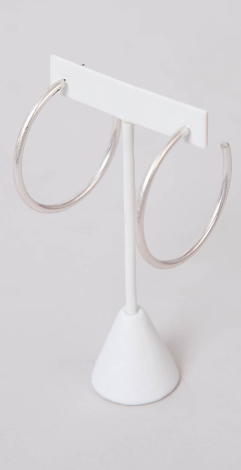 Dainty Ivy 50mm Open Hoops Matte Silver