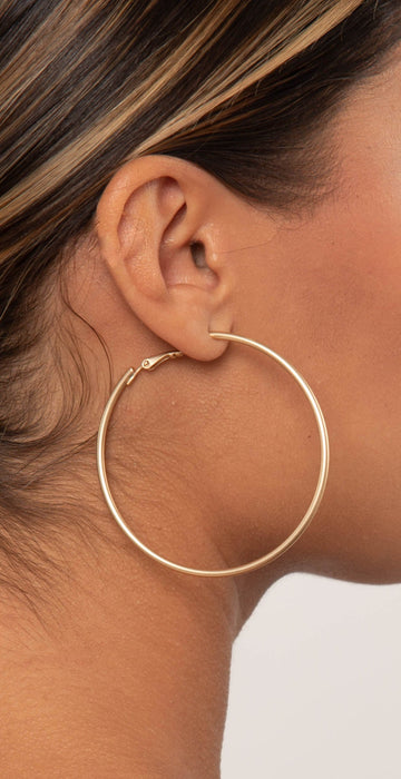 Dainty Ivy 60mm Hoops Gold