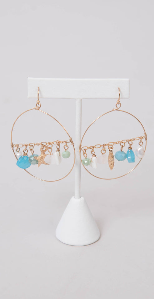 Dainty Ivy Starfish and Beaded Earrings Turquoise