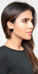 Dainty Ivy Epoxy Heart Earrings Black