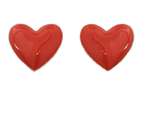 Dainty Ivy Epoxy Heart Earrings Red