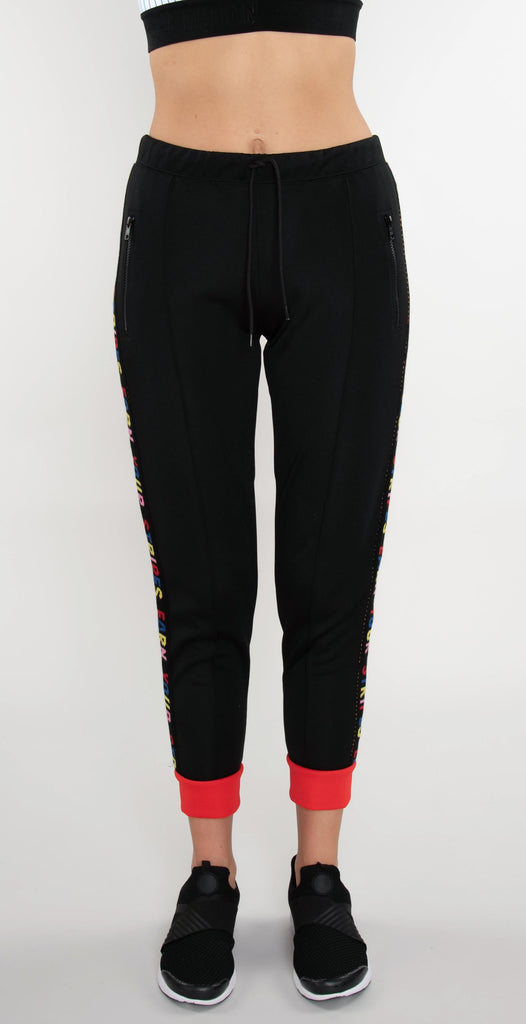 Être Cécile Earn Your Stripes Rib Crop Track Pants Black/Red Flame