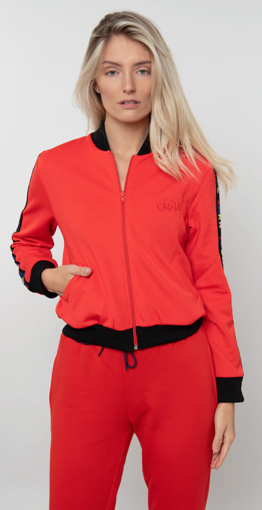 Être Cécile Earn Your Stripes Rib Track Bomber Jacket Flame Red/Black