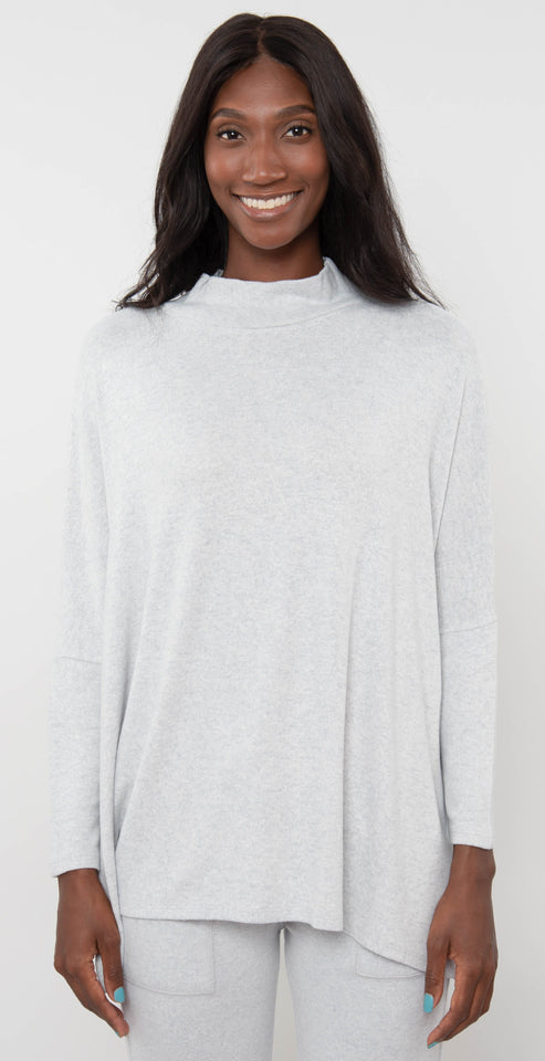 French Kyss Mock Neck Top Gray Grey