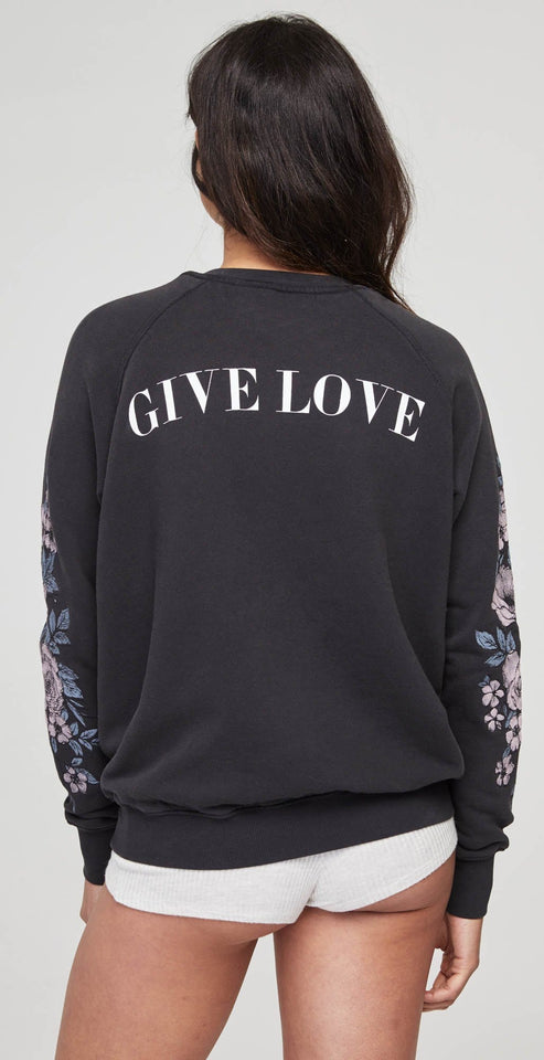 Spiritual Gangster Give Love Embroidered Crew Sweatshirt Vintage Black