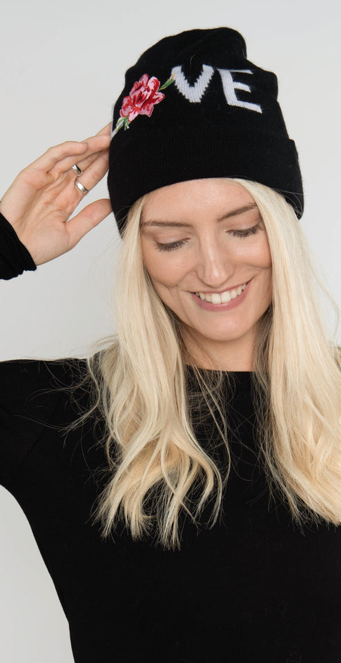 Spiritual Gangster Love Embroidered Beanie Black