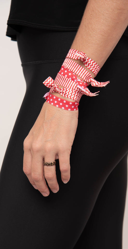 Gameday Hair Tie Set - Red/White