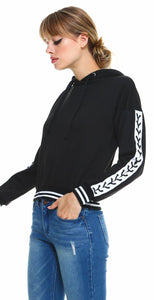 Miley & Molly Fleece Lace Up Hoodie Black