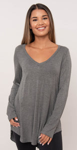 KLD Long Sleeve V-Neck Gray