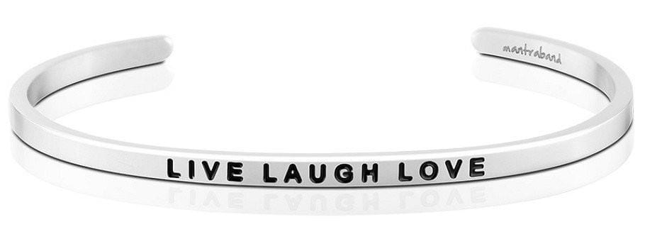 Live Laugh Love Mantraband Silver