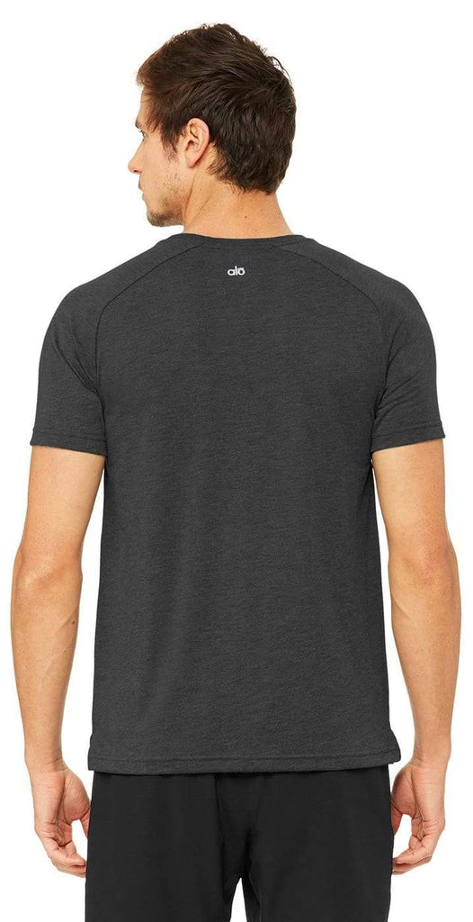 Alo Yoga Triumph Crew Neck Tee Charcoal Black
