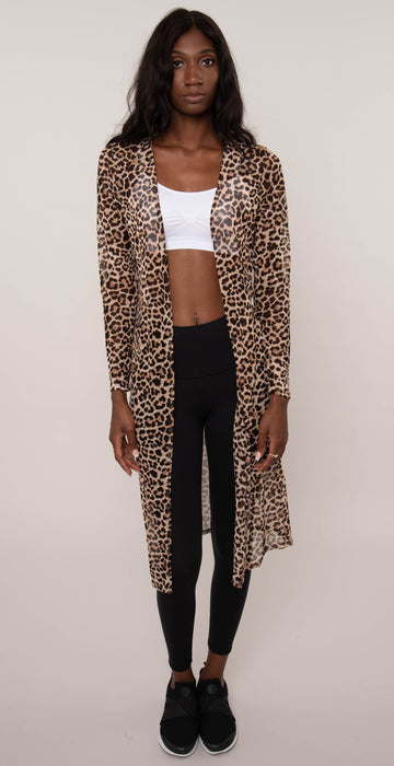 Miley & Molly Mesh Duster / Cardigan Leopard