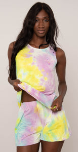 Miley & Molly Sleeveless Top & Short Lounge Wear Set Pajama Set Yellow and Purple Tie Dye