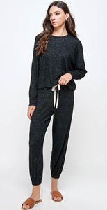 Miley + Molly Blushed Lounge Wear Set Pajama Set Black