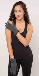 Look by M Shirring Trimmed Gloves Gray