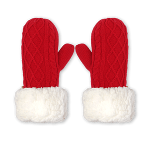 Pudus Mittens Red Cable Knit