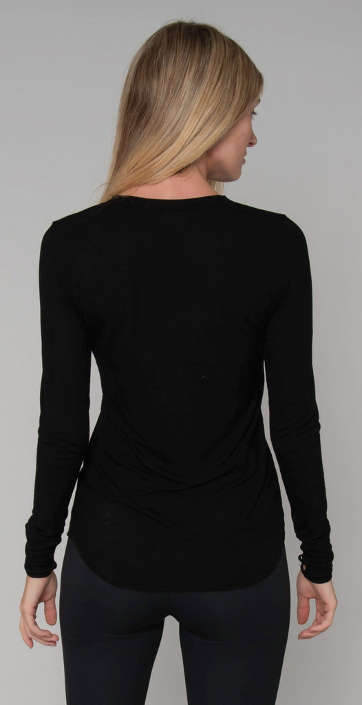 Michael Lauren Black Ledger Long Sleeve Top Black
