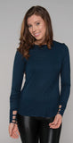 Michael Lauren Black Ledger Long Sleeve Top Navy