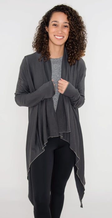Fitness Hub Shop Montecito Cardigan Carbon