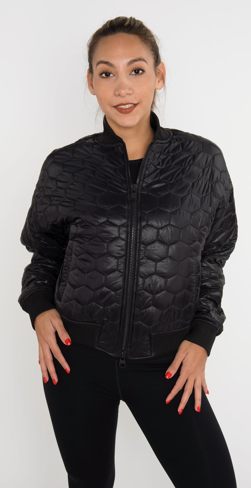 Twenty Montréal Mcgill Hexagon Short Puff Jacket Black