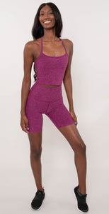 Beyond Yoga Space Dye Slim Racerback Cropped Tank Magenta