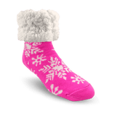 Pudus Classic Slipper Sock Pink Snowflakes