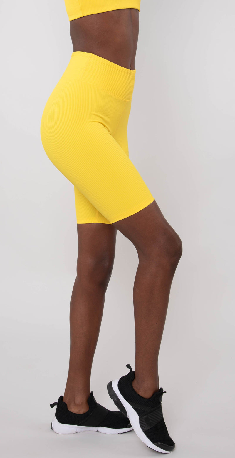 Year of Ours Ribbed Biker Shorts Yellow