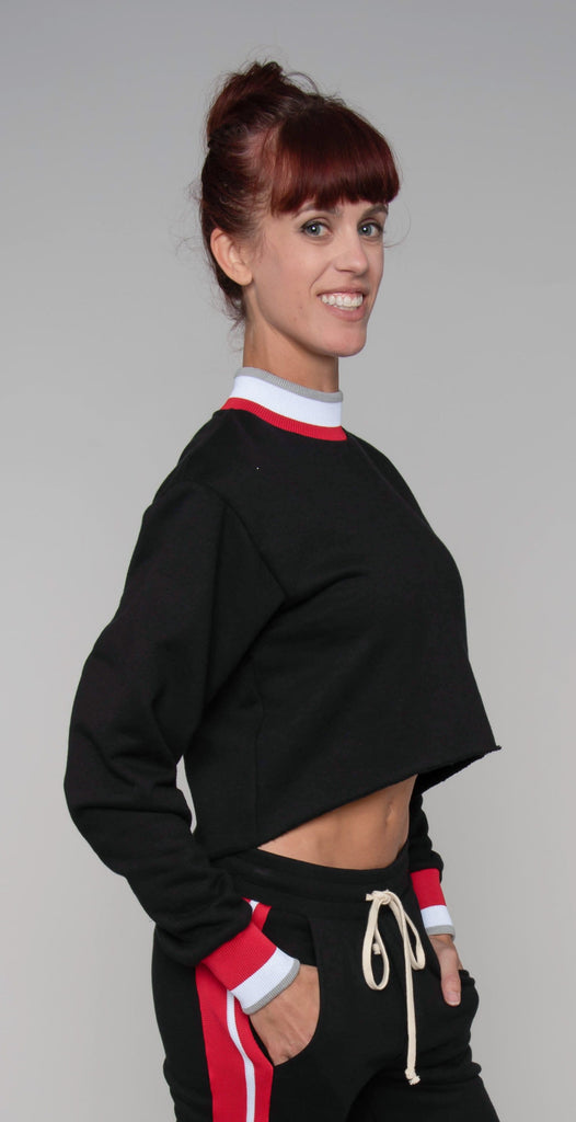 Twenty Montréal Pride Terry Cropped Top Jet Black Red
