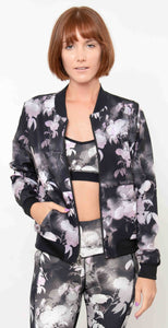Skechers Reversible Ink Floral Bomber Jacket Black Multi