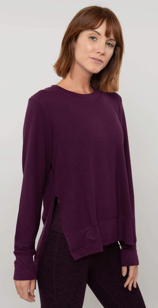 Alo Yoga Glimpse Long Sleeve Black Plum Heather
