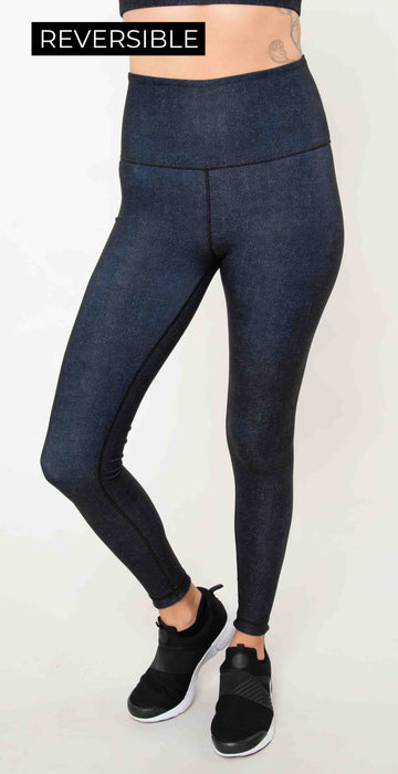 Wear it to Heart High Waist Reversible Leggings Indigo Denim Navy Tie Dye